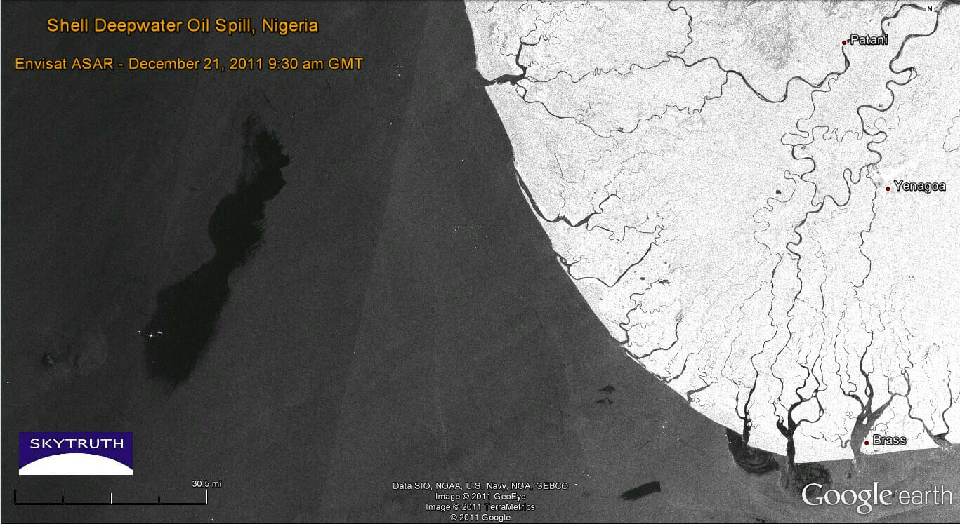 Satellite images of Shell's massive spill in Nigeria