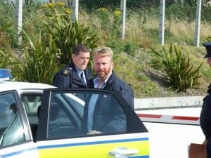 Niall with Garda, the Irish police force (photo: Hugh Egan)