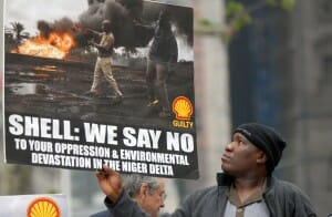 Ogoni supporters rally in New York in support of the Wiwa v Shell lawsuit, and protest against gas flaring in Nigeria