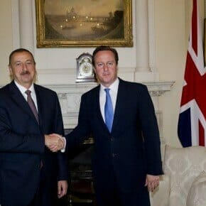 Cameron greets  Aliyev inside No.10 Downing Street on August  2012. Aliyev came of the Olympics and watched Greco-roman wrestlers.
