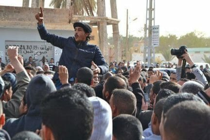 A 2013 protest in Ouargla by the National Committee for the Defence of  Unemployed Rights