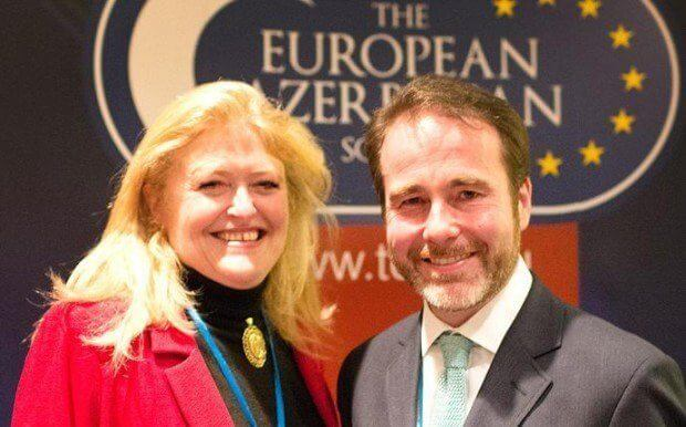 Two MPs Christopher Pincher and Laura Sandys at The European Azerbaijan Society Reception, Conservative Party Conference 2012.