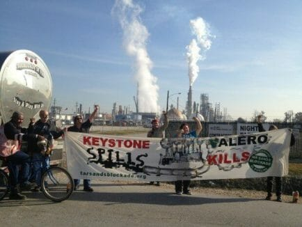 HOUSTON, TX – THURSDAY, NOVEMBER 28, 2012 8:00AM –-Longtime Gulf Coast activists Diane Wilson and Bob Lindsey Jr. have locked their necks to oil tanker trucks destined for Valero's Houston Refinery in solidarity with Tar Sands Blockade's protests of TransCanada's Keystone XL pipeline.