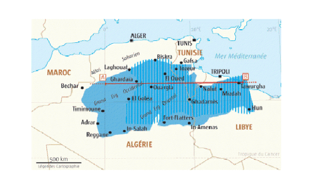 Map of fresh ground-water layers covering Algeria, Tunisia and Libya