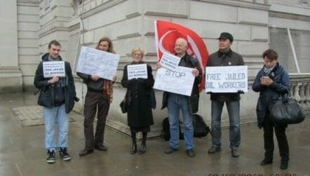 North Sea oil worker Neil Rothnie and other campaigners outside the Foreign Office.