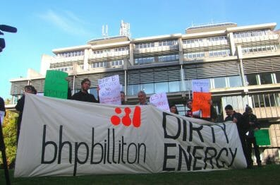 Protest at the BHPB AGM in London in 2011