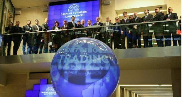 VIPs and speaker guests from the Caspian Region gathered as the market opened for trading at the London Stock Exchange, before the Second Caspian Corridor Conference began. Photo by Matt Chung