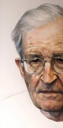 "Noam Chomsky, Oil on Canvas, 29"" x 58"", 2012, by Raoul Martinez"