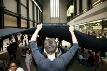 "What's underneath Tate's secrecy? Liberate Tate's ""Hidden Figures"" performance at Tate Modern. Photo: Martin LeSanto-Smith"