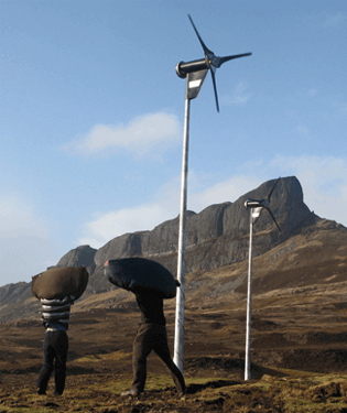 Community owned wind turbines on the island of Eigg, Scotland
