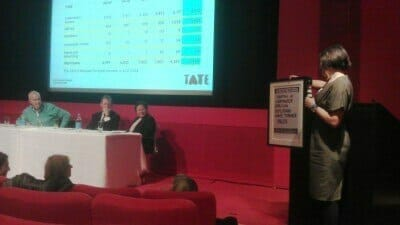 Liberate Tate presents Tate Members Council with Conrad Atkinson artwork as a reminder of BP sponsorship controversy.