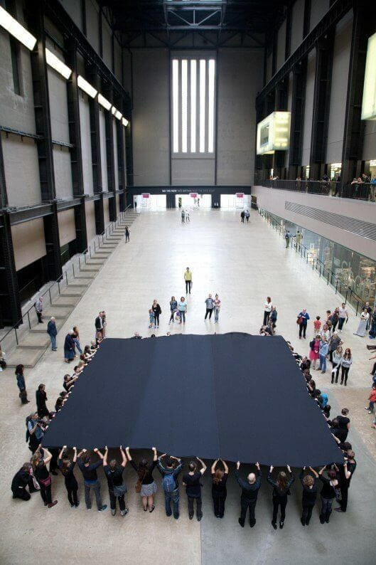 Liberate Tate's 'Hidden Figures' performance in the Turbine Hall. Credit: Martin LeSanto-Smith