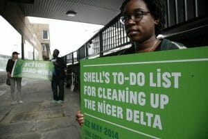 Platform protest outside Shell UK shareholder meeting last year. Credit Martin Lesanto-Smith