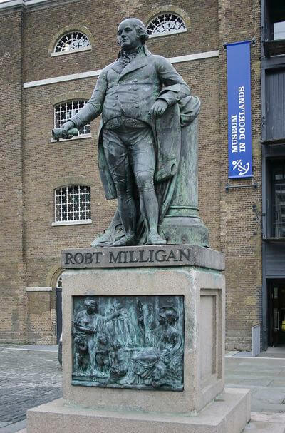 Statue of Robert Milligan by the former West India Dock
