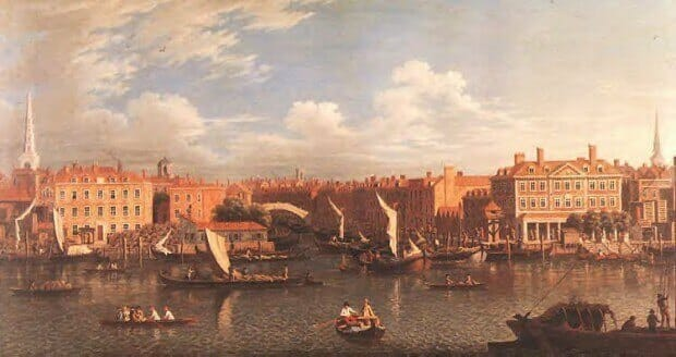 The mouth of the River Fleet - now buried - painted by Samuel Scott 1750's