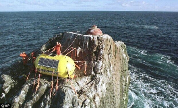 Greenpeace activists on Rockall protesting Atlantic oil exploration