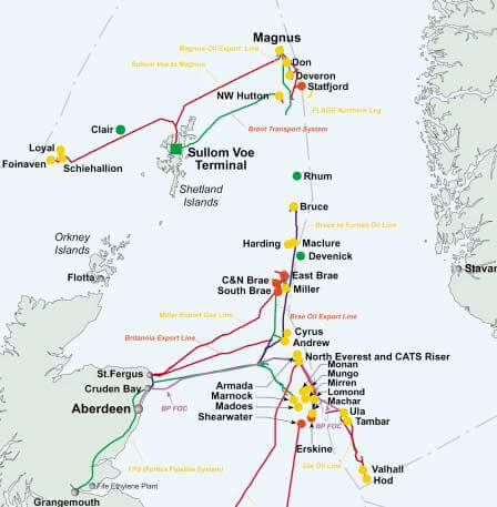 The North Sea and West of Shetland oil & gas fields