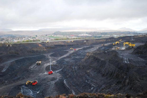 Ffos-y-fran open cast coal mine in South Wales