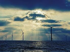 Wind turbines at the London Array in the Thames Estuary