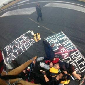 Solidarity with Black Lives Matter UK shutdown at City Airport