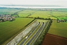 The Highway Agency's image of the proposed Lower Thames Crossing passing under Shorne Marshes